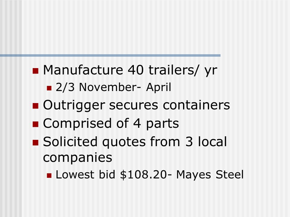 Manufacture 40 trailers/ yr 2/3 November- April Outrigger secures containers Comprised of 4 parts Solicited quotes from 3 local companies Lowest bid $108.20- Mayes Steel
