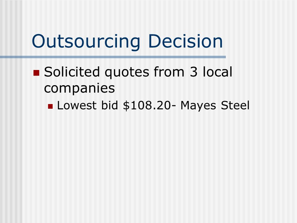 Outsourcing Decision Solicited quotes from 3 local companies Lowest bid $108.20- Mayes Steel