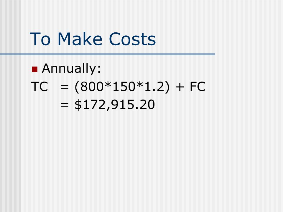 To Make Costs Annually: TC = (800*150*1.2) + FC = $172,915.20