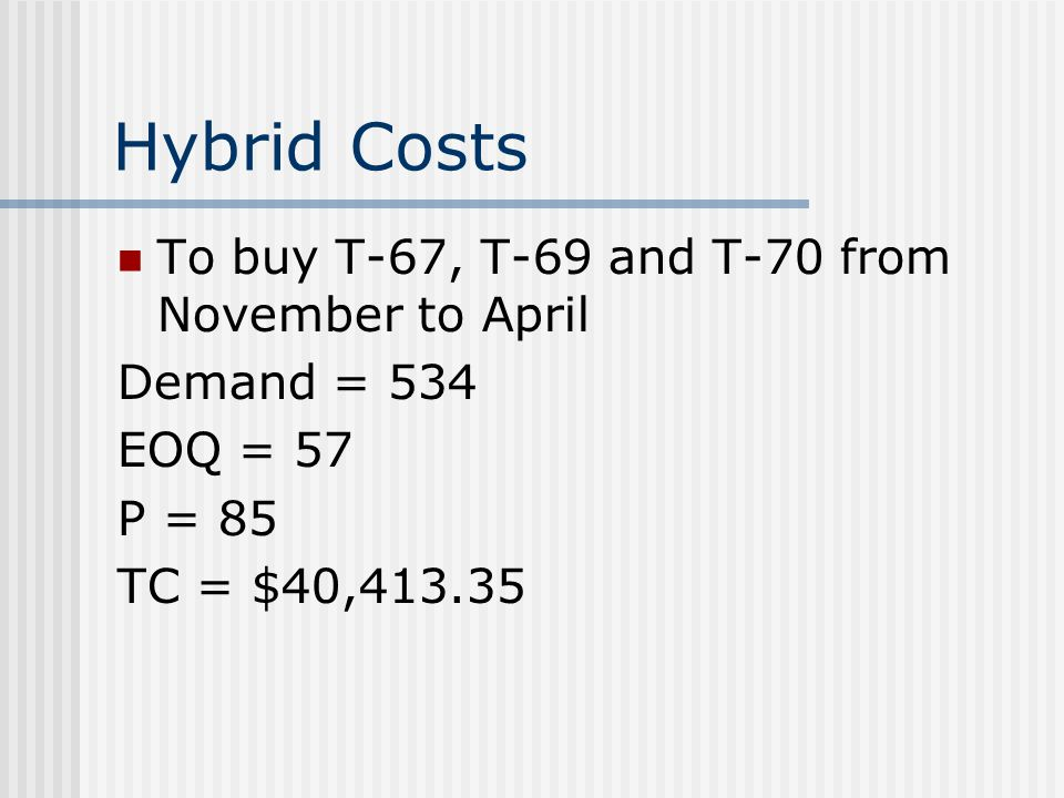 Hybrid Costs To buy T-67, T-69 and T-70 from November to April Demand = 534 EOQ = 57 P = 85 TC = $40,413.35