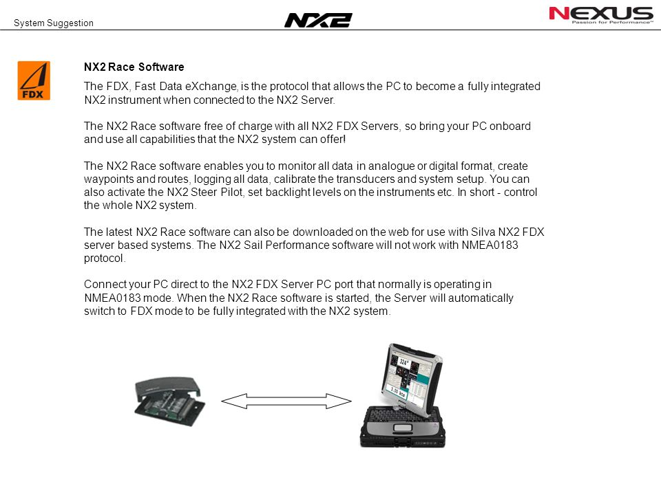 System Suggestion NX2 Race Software The FDX, Fast Data eXchange, is the protocol that allows the PC to become a fully integrated NX2 instrument when connected to the NX2 Server.
