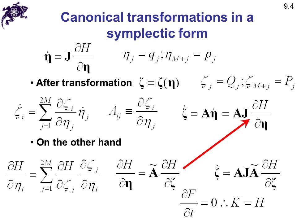 Canonical transformations in a symplectic form After transformation On the other hand 9.4