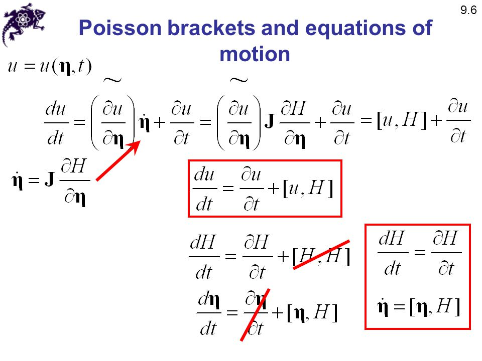 Poisson brackets and equations of motion 9.6