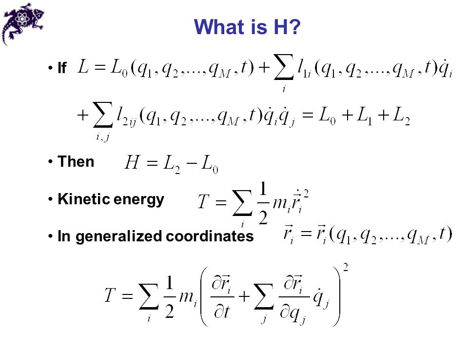 Generalized coordinates/momenta: