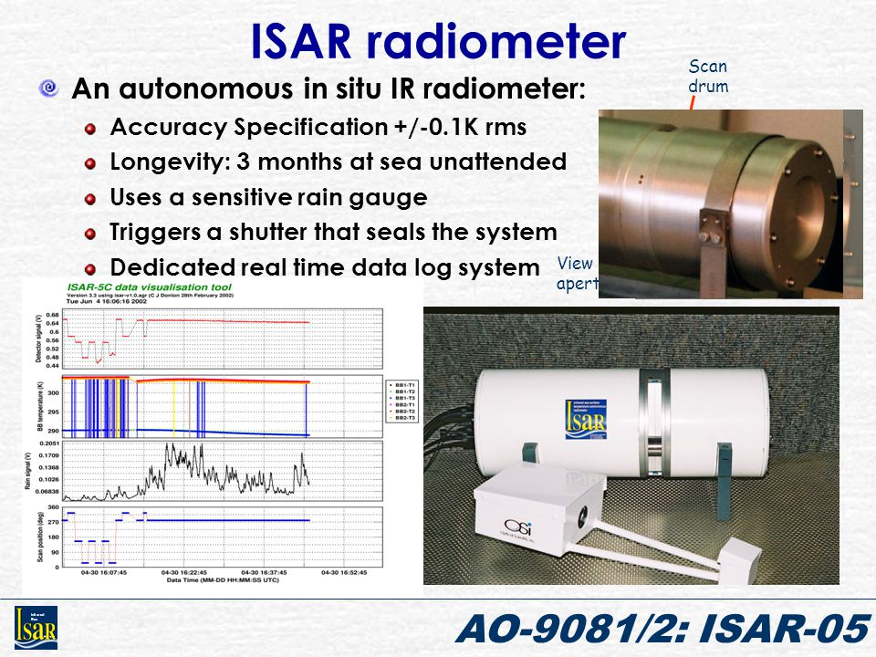 Infrared Sea AO-9081/2: ISAR-05 ISAR radiometer An autonomous in situ IR radiometer: Accuracy Specification +/-0.1K rms Longevity: 3 months at sea una