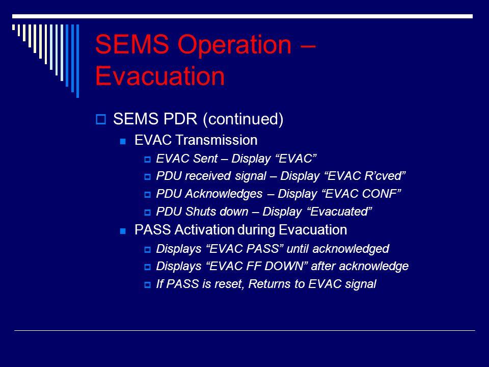 "SSEMS PDR (continued) EVAC Transmission EEVAC Sent – Display ""EVAC"" PPDU received signal – Display ""EVAC R'cved"" PPDU Acknowledges – Display """