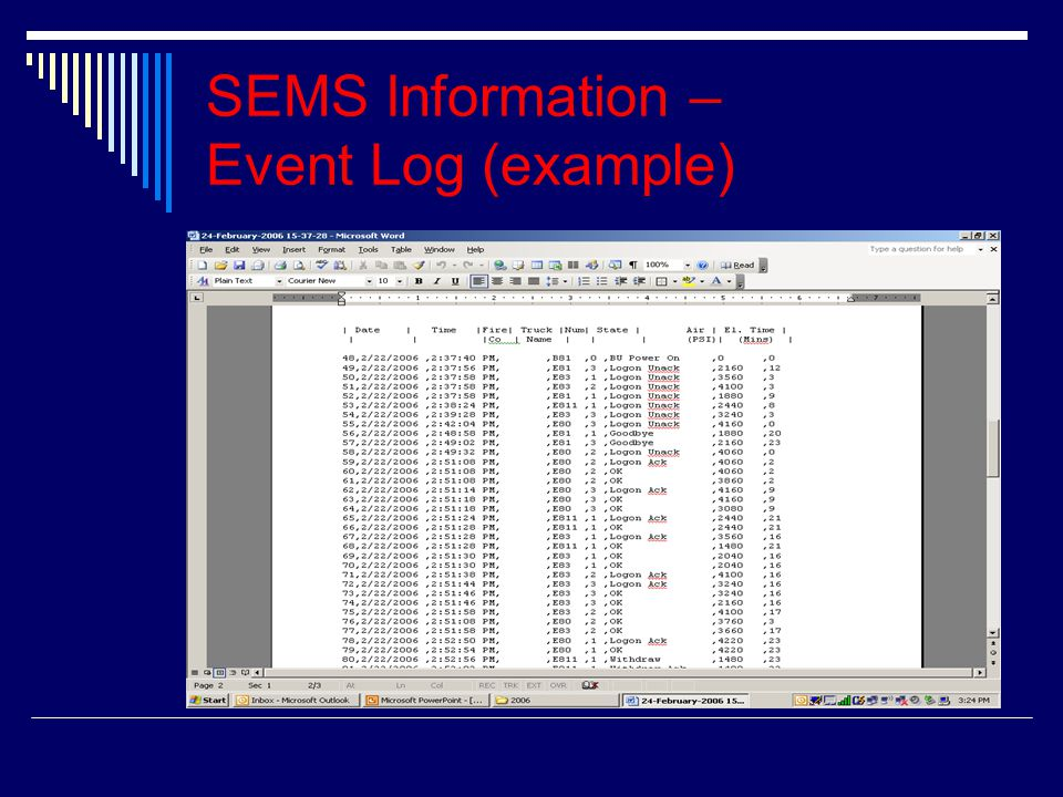 SEMS Information – Event Log (example)