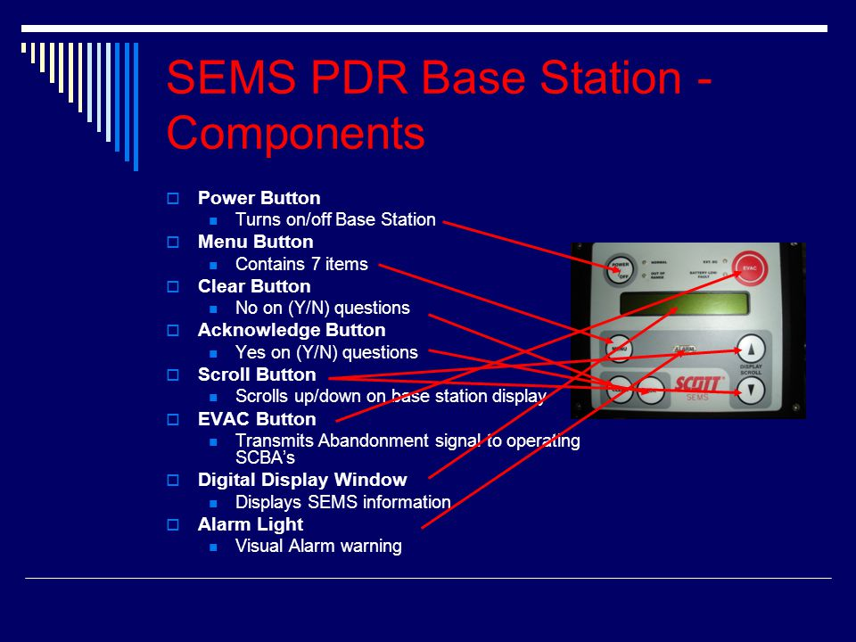 SEMS PDR Base Station - Components  Power Button Turns on/off Base Station  Menu Button Contains 7 items  Clear Button No on (Y/N) questions  Acknowledge Button Yes on (Y/N) questions  Scroll Button Scrolls up/down on base station display  EVAC Button Transmits Abandonment signal to operating SCBA's  Digital Display Window Displays SEMS information  Alarm Light Visual Alarm warning