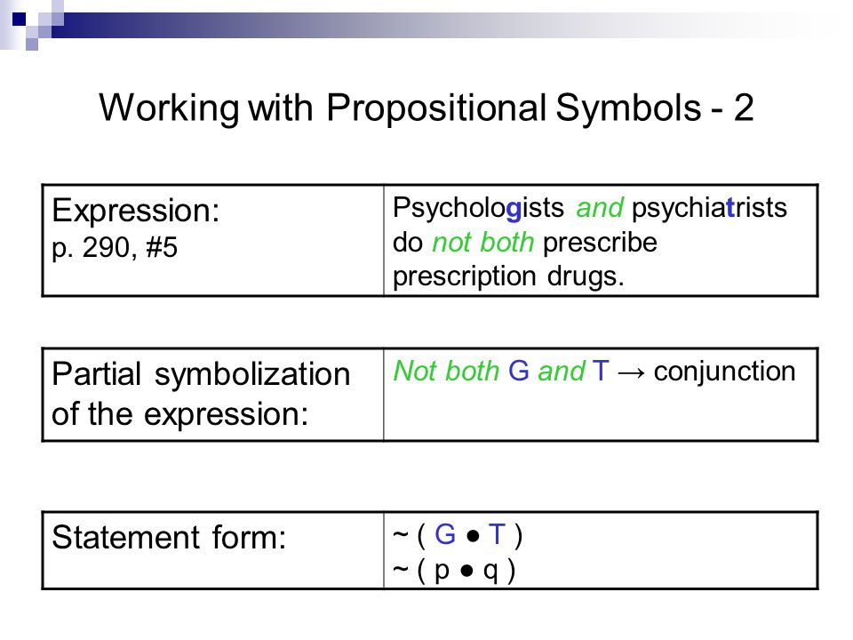 Working with Propositional Symbols - 2 Expression: p.