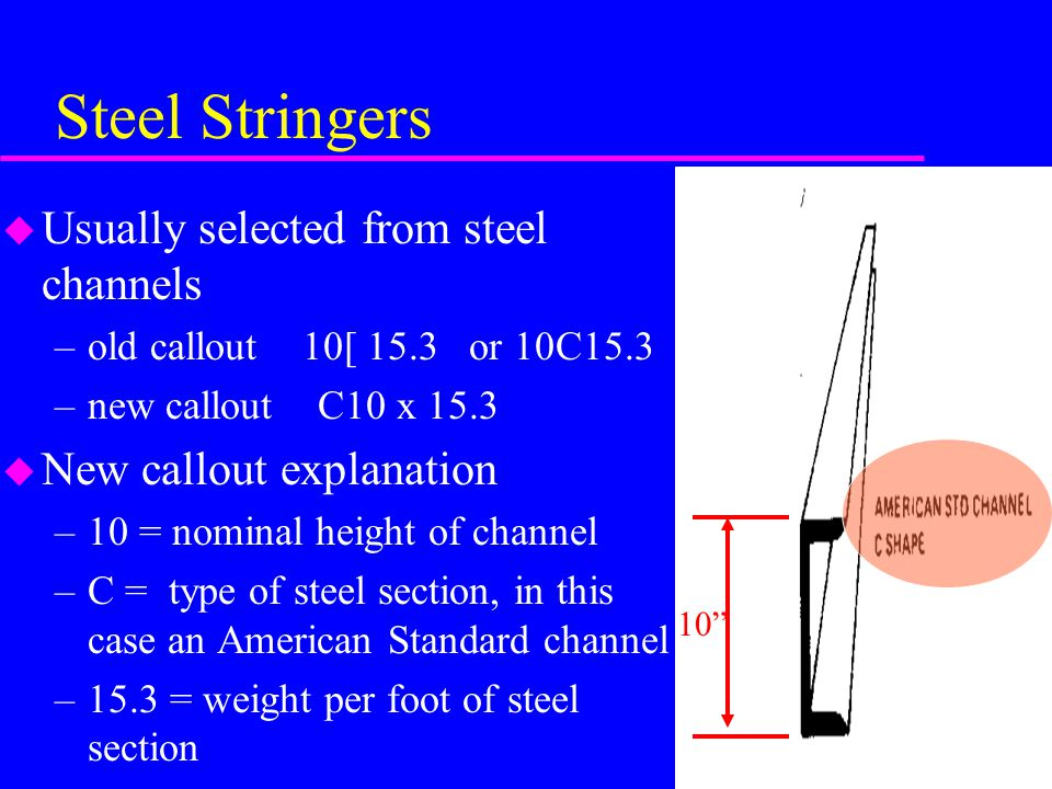 Steel Stringers u Usually selected from steel channels –old callout 10[ 15.3 or 10C15.3 –new callout C10 x 15.3 u New callout explanation –10 = nominal height of channel –C = type of steel section, in this case an American Standard channel –15.3 = weight per foot of steel section 10