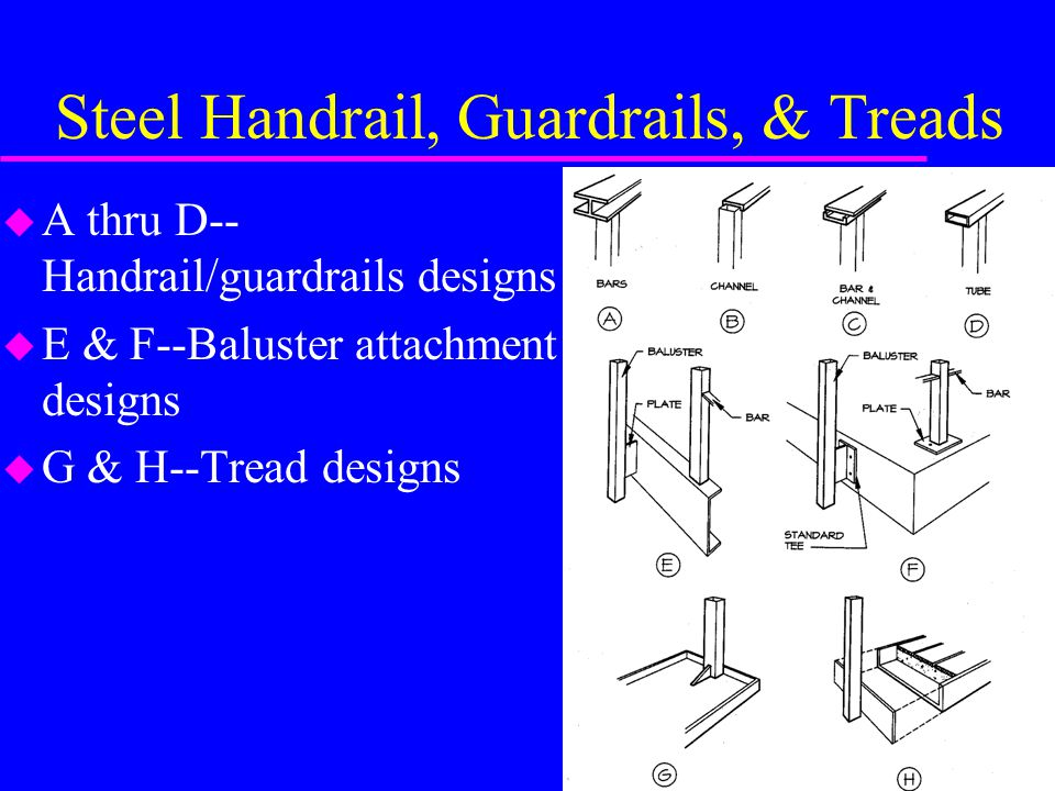 Steel Handrail, Guardrails, & Treads u A thru D-- Handrail/guardrails designs u E & F--Baluster attachment designs u G & H--Tread designs