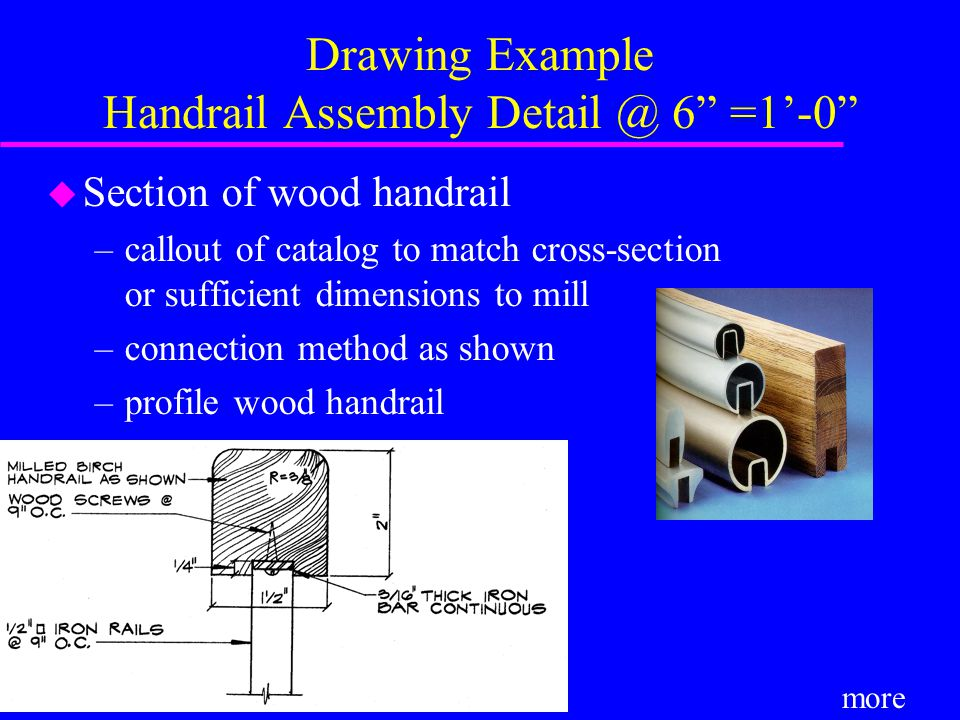 Drawing Example Handrail Assembly Detail @ 6 =1'-0 u Section of wood handrail –callout of catalog to match cross-section or sufficient dimensions to mill –connection method as shown –profile wood handrail more