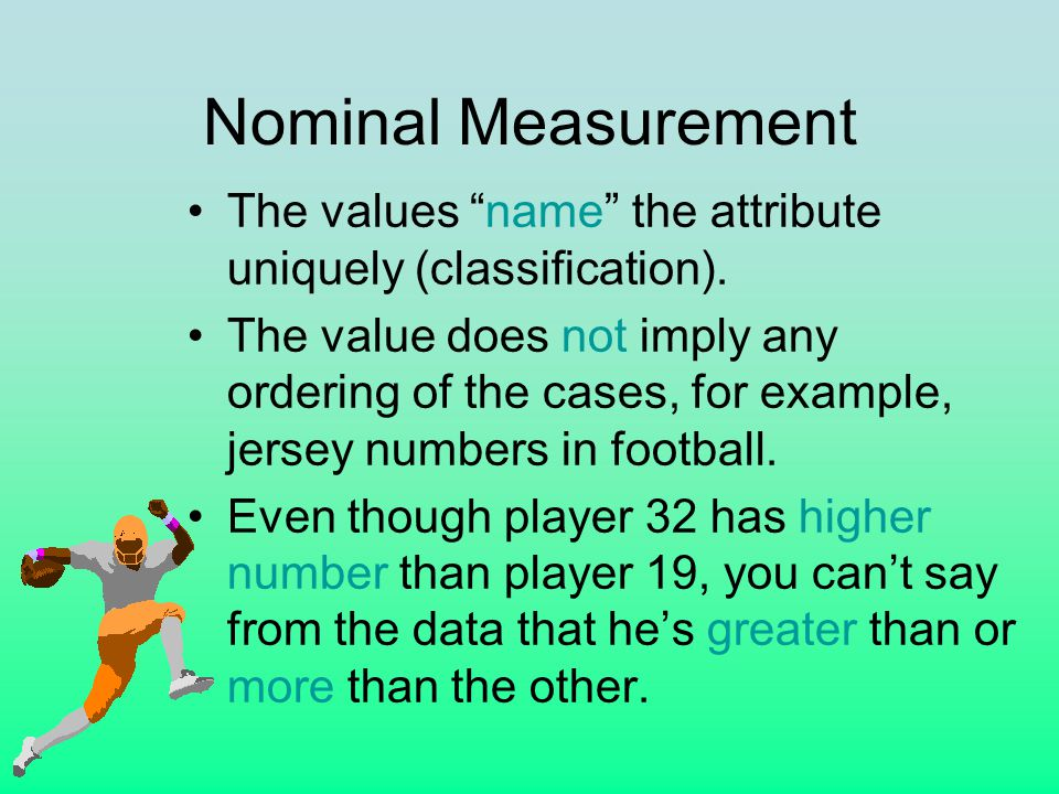 Nominal Measurement The values name the attribute uniquely (classification).