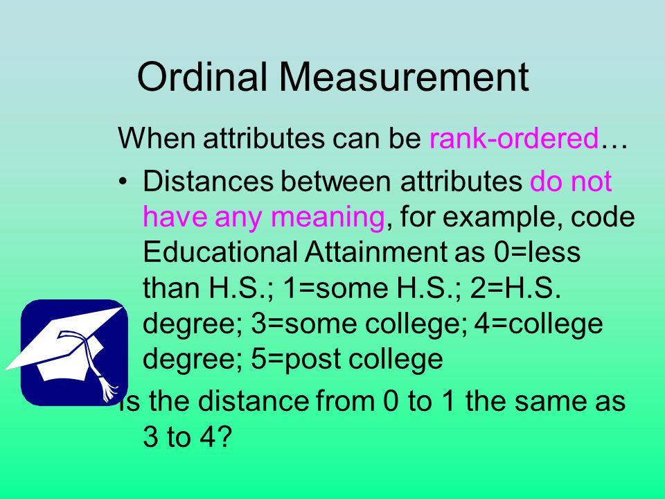 Ordinal Measurement When attributes can be rank-ordered… Distances between attributes do not have any meaning, for example, code Educational Attainment as 0=less than H.S.; 1=some H.S.; 2=H.S.
