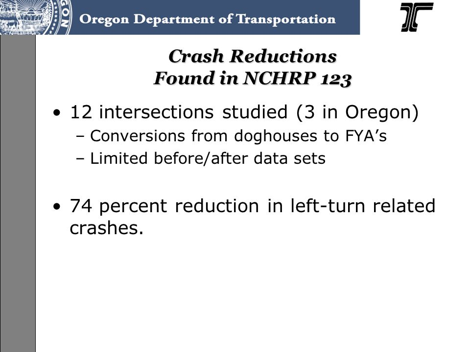 Crash Reductions Found in NCHRP 123 12 intersections studied (3 in Oregon) –Conversions from doghouses to FYA's –Limited before/after data sets 74 percent reduction in left-turn related crashes.