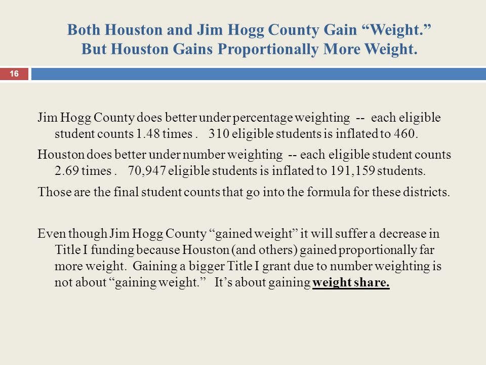 "Both Houston and Jim Hogg County Gain ""Weight."" But Houston Gains Proportionally More Weight. Jim Hogg County does better under percentage weighting -"