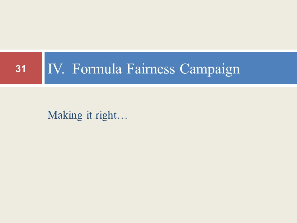 Making it right… IV. Formula Fairness Campaign 31
