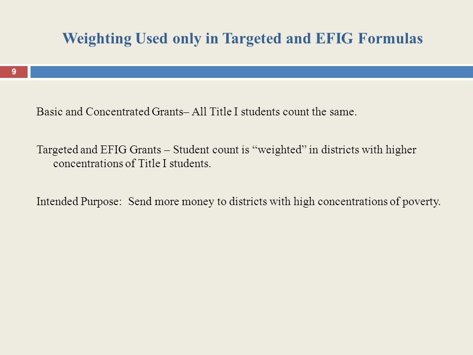 Weighting Used only in Targeted and EFIG Formulas Basic and Concentrated Grants– All Title I students count the same.