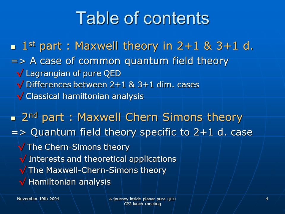 November 19th 2004 A journey inside planar pure QED CP3 lunch meeting 4 Table of contents 1 st part : Maxwell theory in 2+1 & 3+1 d.