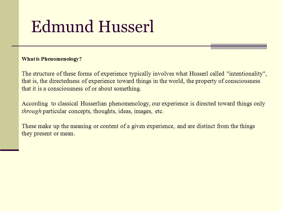 Edmund Husserl What is Phenomenology.