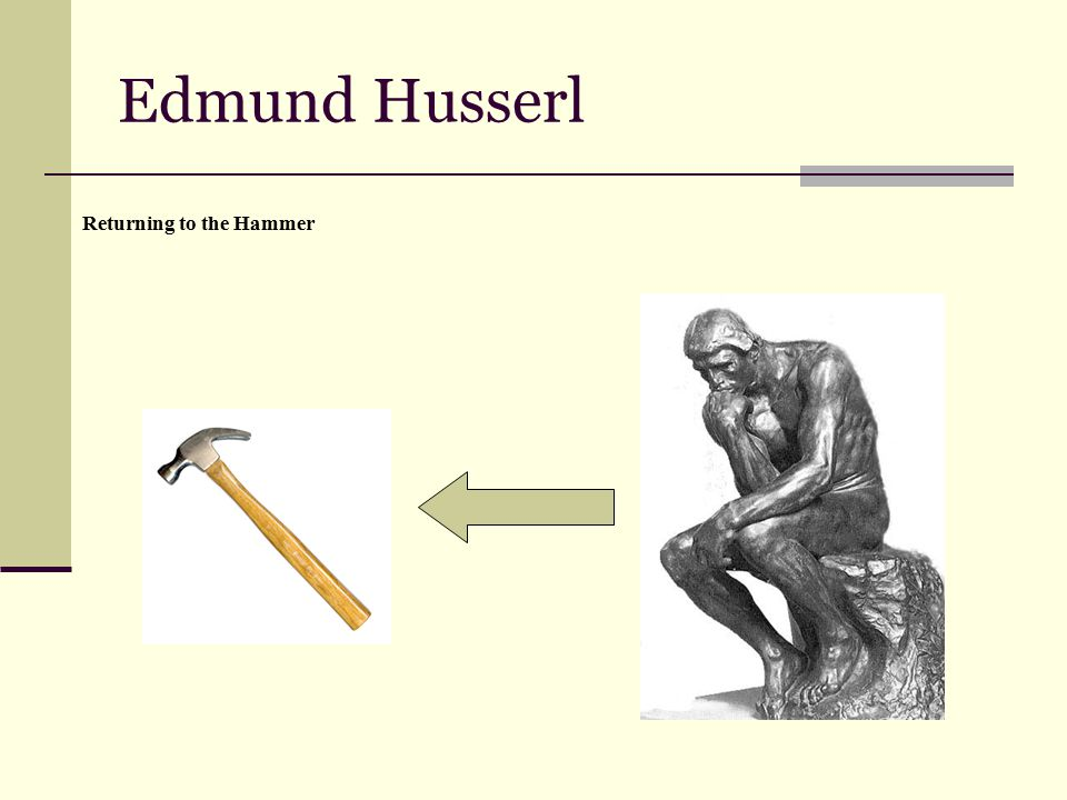 Edmund Husserl Returning to the Hammer