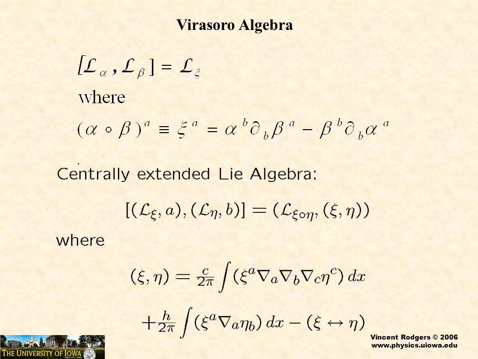 Vincent Rodgers © 2006 www.physics.uiowa.edu Virasoro Algebra