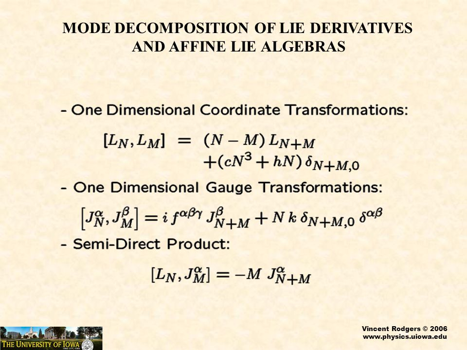 Vincent Rodgers © 2006 www.physics.uiowa.edu MODE DECOMPOSITION OF LIE DERIVATIVES AND AFFINE LIE ALGEBRAS