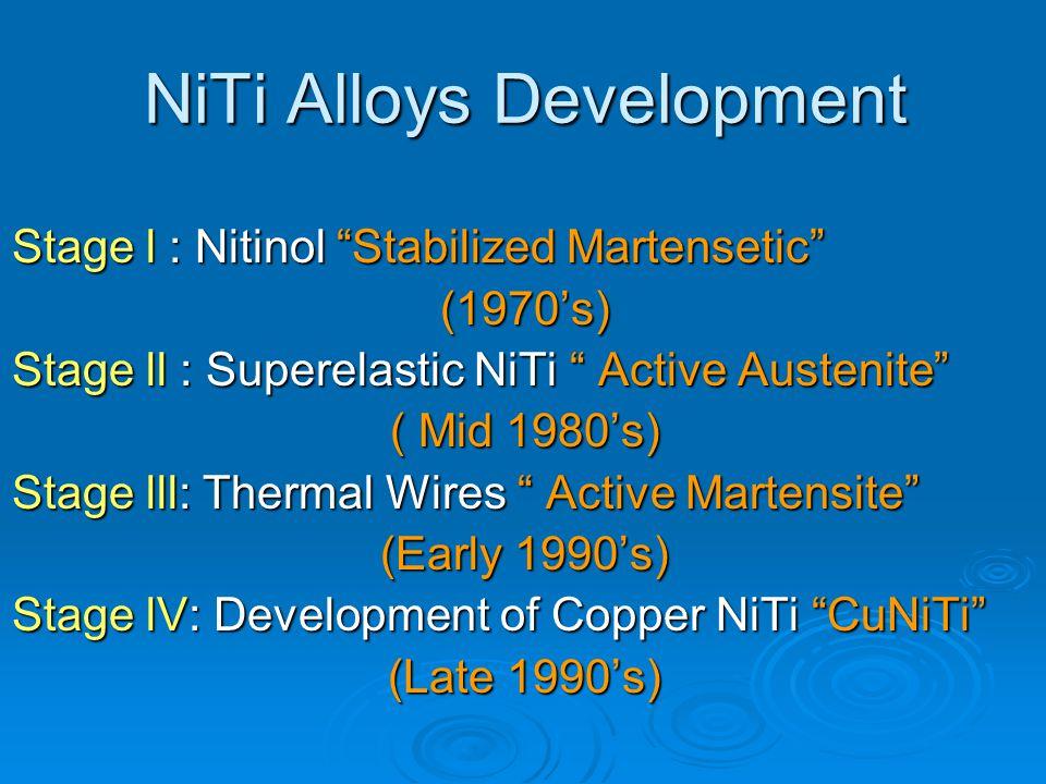 "NiTi Alloys Development Stage l : Nitinol ""Stabilized Martensetic"" (1970's) Stage ll : Superelastic NiTi "" Active Austenite"" ( Mid 1980's) Stage lll:"