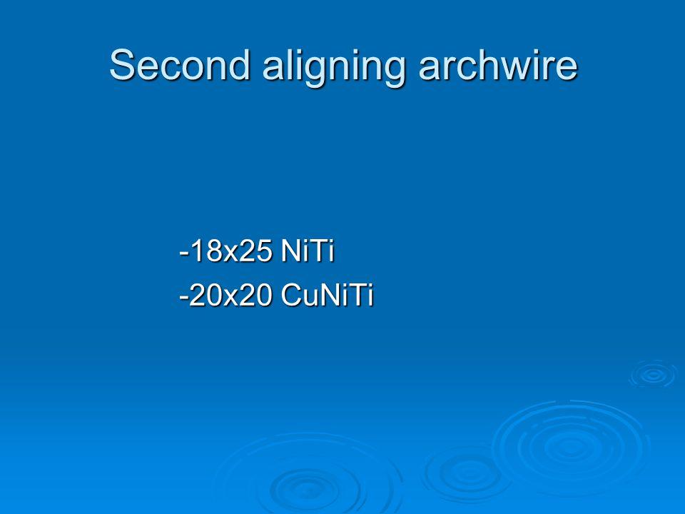 Second aligning archwire -18x25 NiTi -20x20 CuNiTi