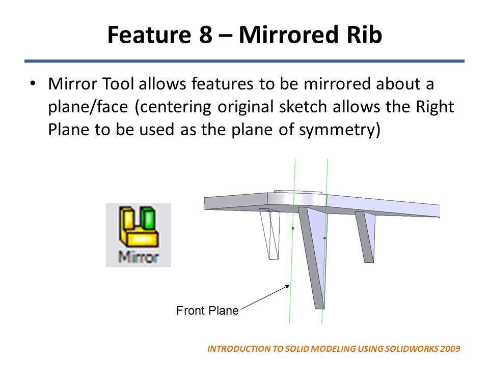 Feature 8 – Mirrored Rib Mirror Tool allows features to be mirrored about a plane/face (centering original sketch allows the Right Plane to be used as the plane of symmetry) Front Plane INTRODUCTION TO SOLID MODELING USING SOLIDWORKS 2009