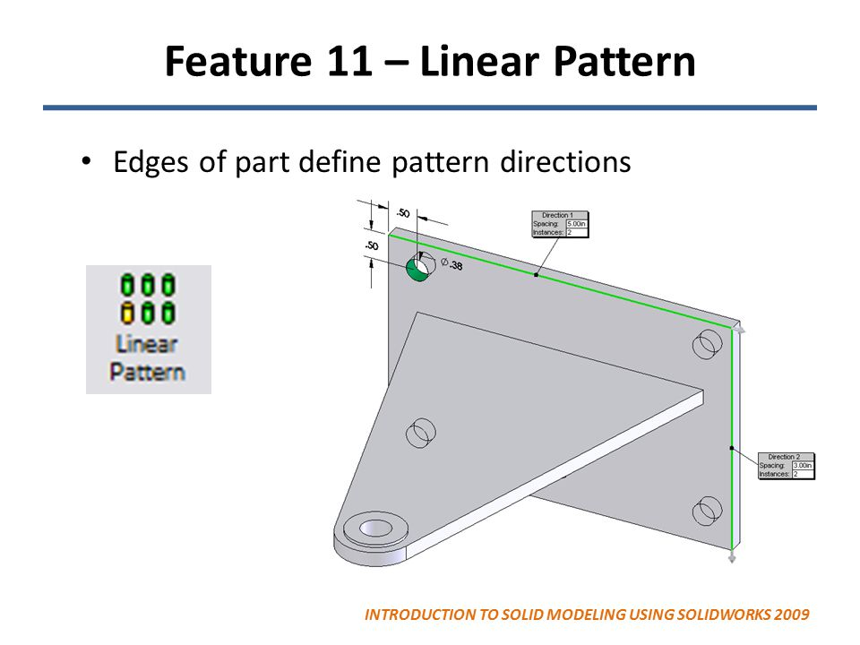 Feature 11 – Linear Pattern Edges of part define pattern directions INTRODUCTION TO SOLID MODELING USING SOLIDWORKS 2009