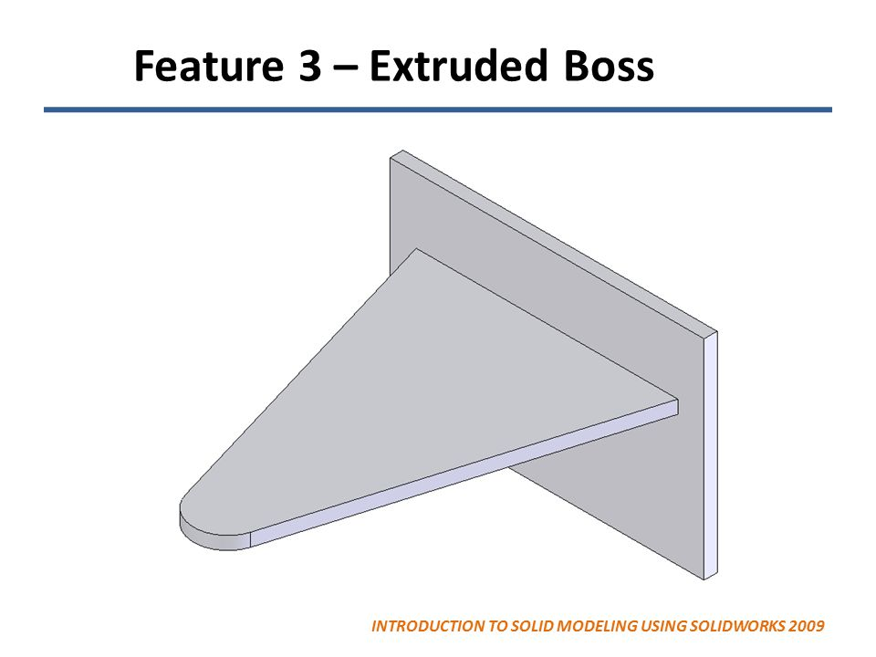 Feature 3 – Extruded Boss INTRODUCTION TO SOLID MODELING USING SOLIDWORKS 2009