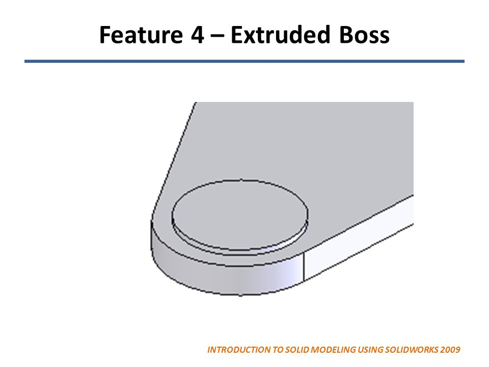 Feature 4 – Extruded Boss INTRODUCTION TO SOLID MODELING USING SOLIDWORKS 2009