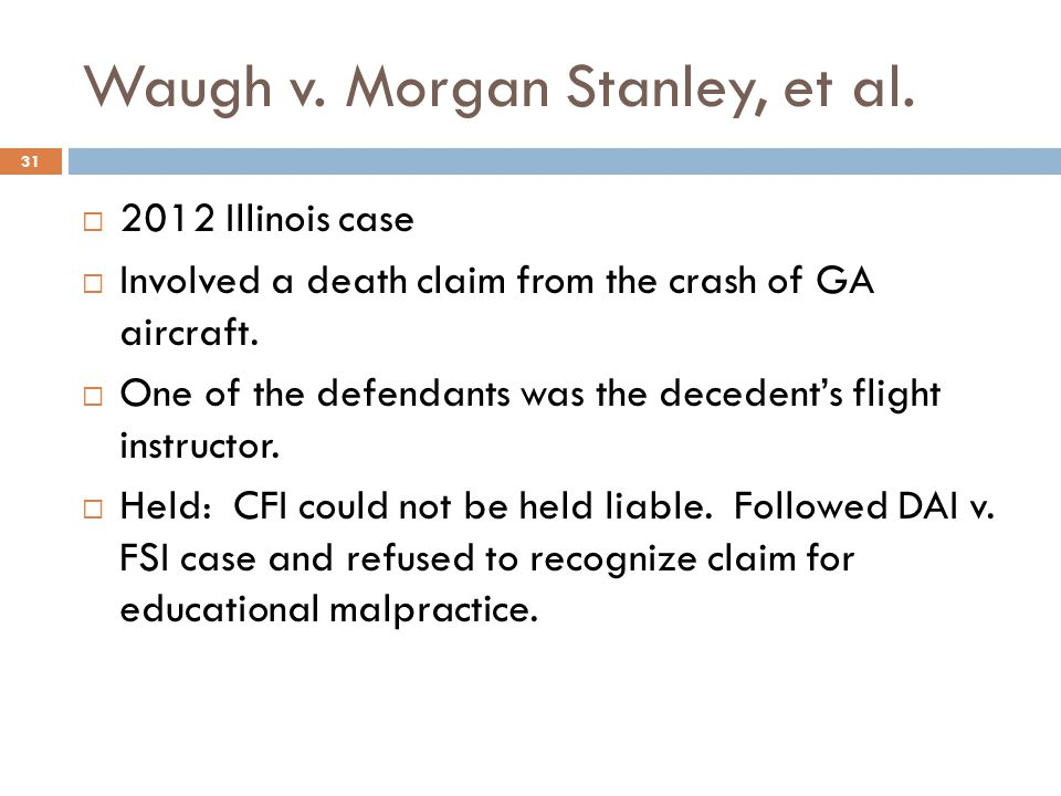 Waugh v. Morgan Stanley, et al.