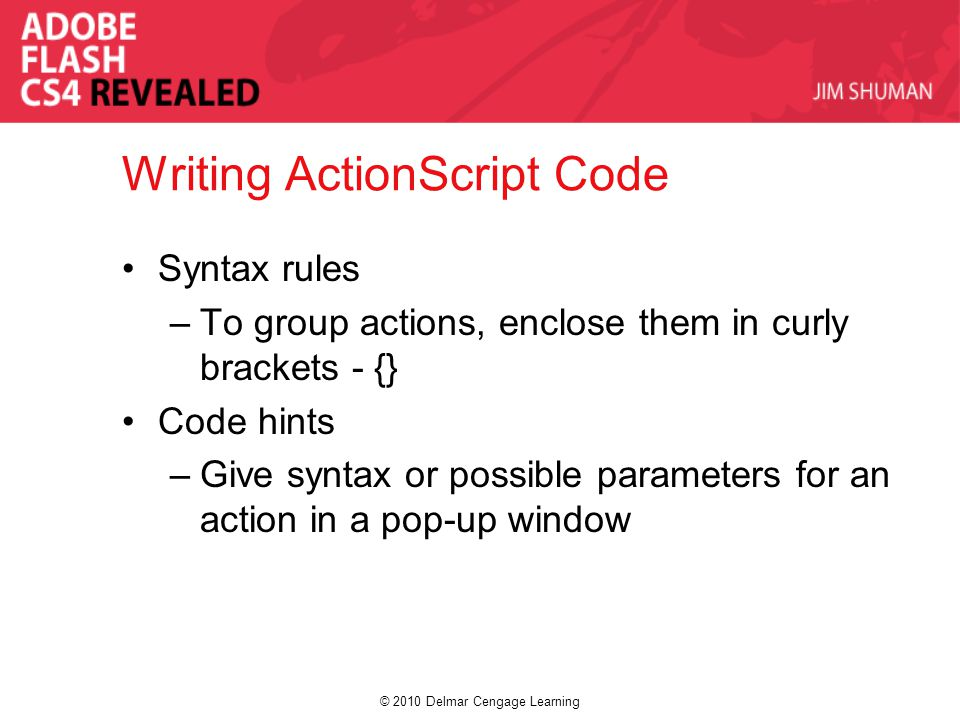 © 2010 Delmar Cengage Learning Writing ActionScript Code Syntax rules –To group actions, enclose them in curly brackets - {} Code hints –Give syntax o