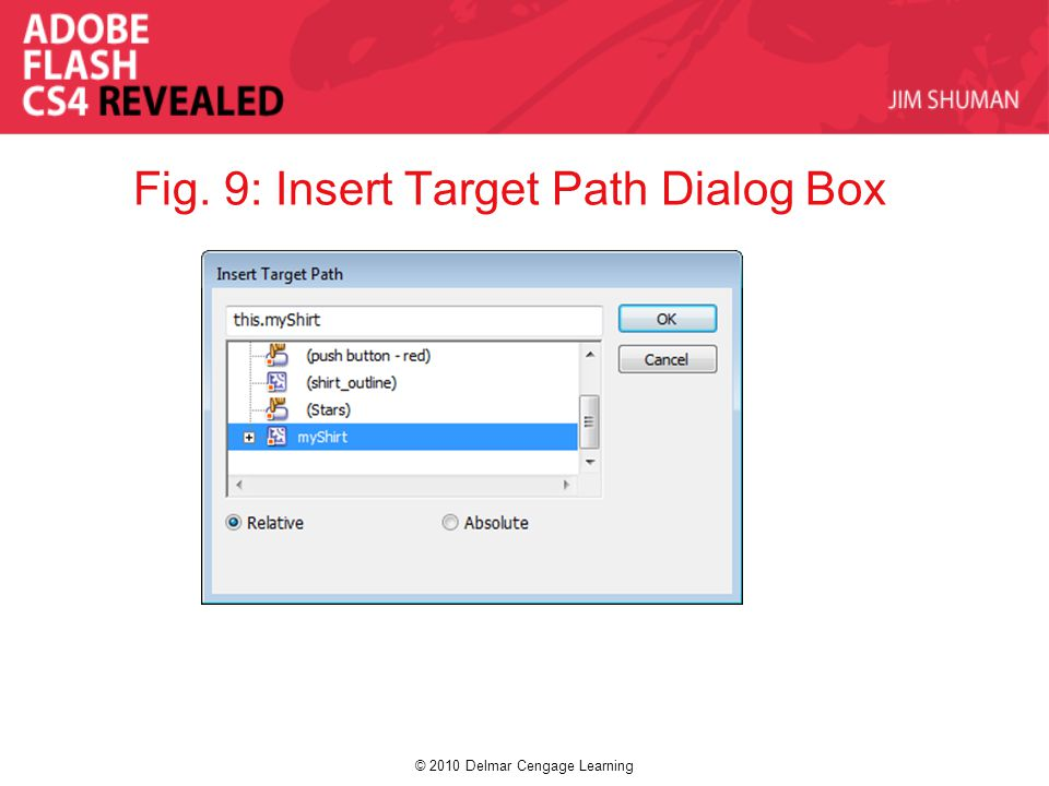 © 2010 Delmar Cengage Learning Fig. 9: Insert Target Path Dialog Box