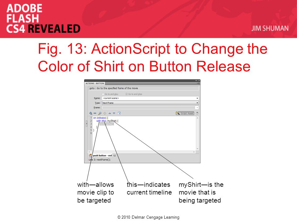 © 2010 Delmar Cengage Learning Fig. 13: ActionScript to Change the Color of Shirt on Button Release with―allows movie clip to be targeted this―indicat