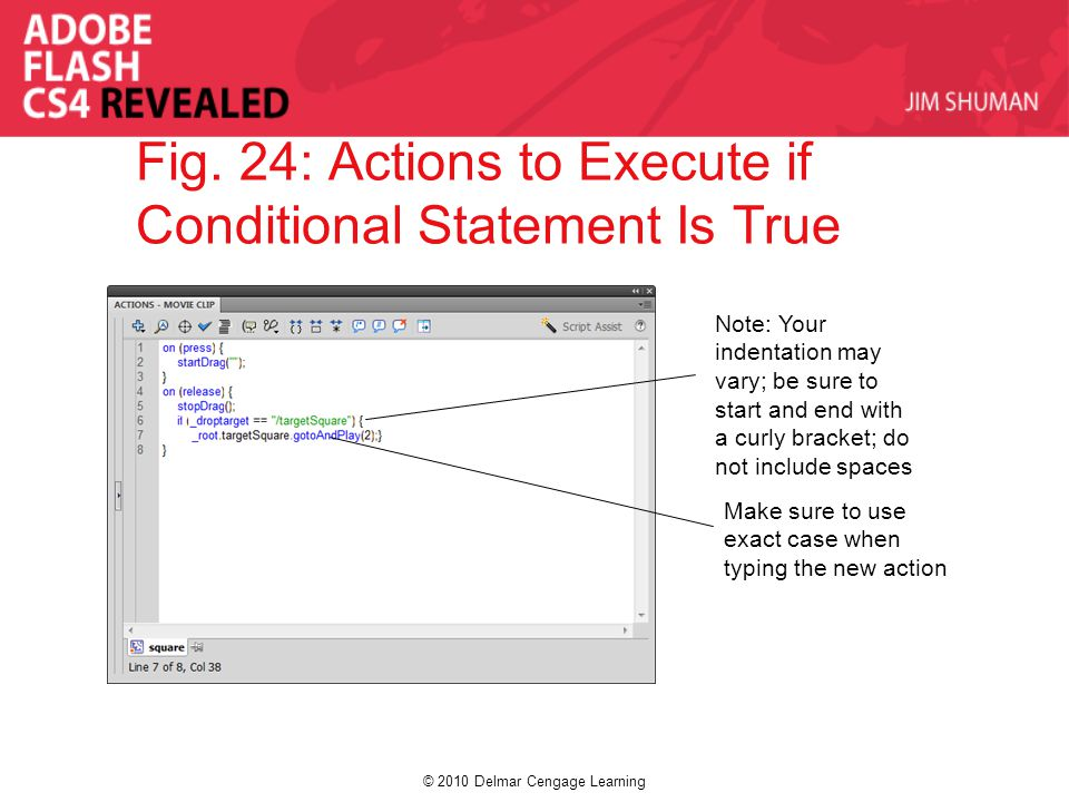 © 2010 Delmar Cengage Learning Fig. 24: Actions to Execute if Conditional Statement Is True Note: Your indentation may vary; be sure to start and end