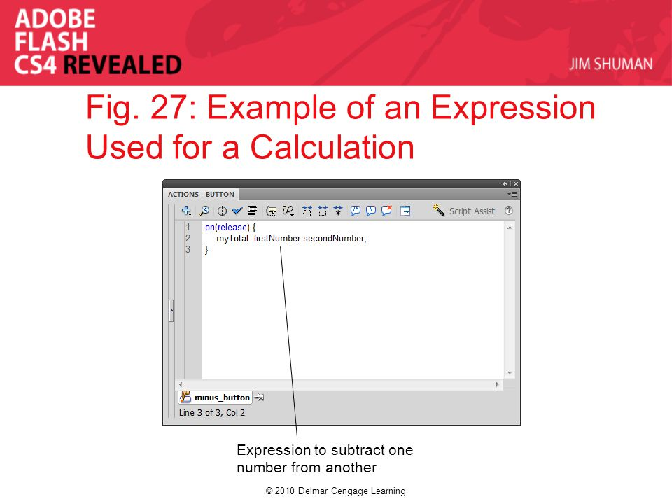 © 2010 Delmar Cengage Learning Fig. 27: Example of an Expression Used for a Calculation Expression to subtract one number from another