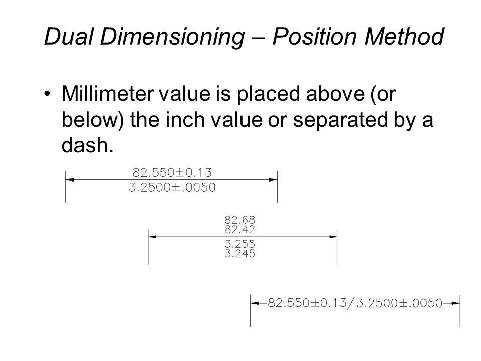 Dual Dimensioning – Bracket Method Millimeter value is enclosed in square brackets.