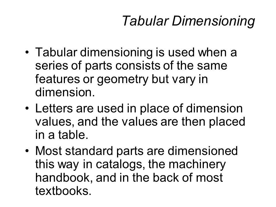 Tabular Dimensioning