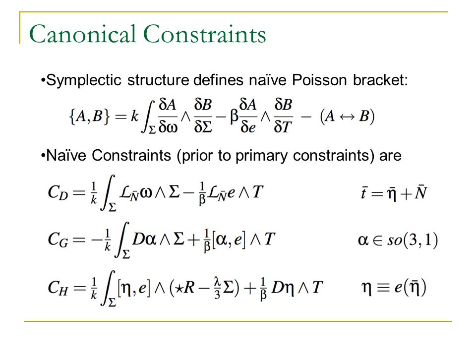 Canonical Constraints Symplectic structure defines naïve Poisson bracket: Naïve Constraints (prior to primary constraints) are