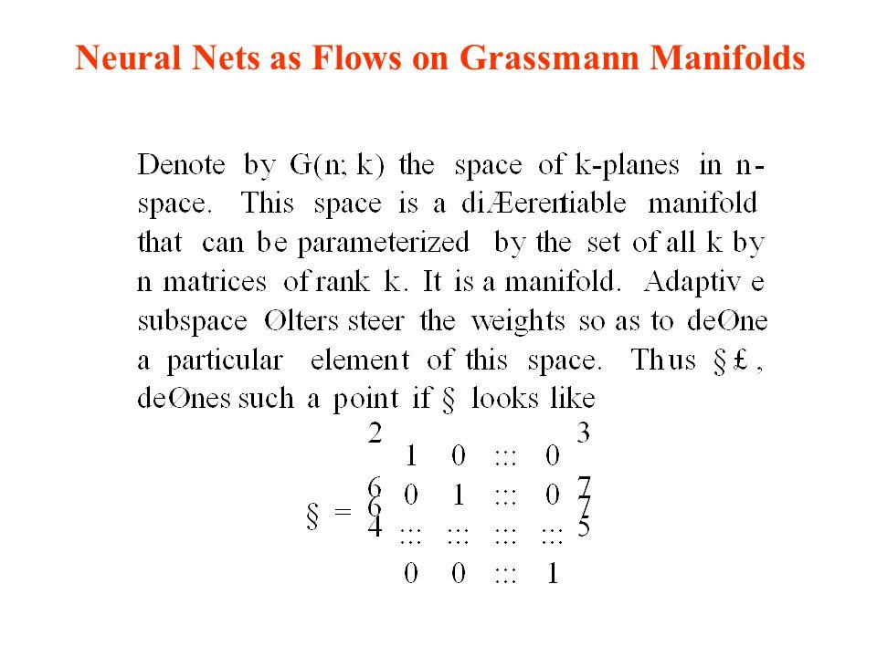 Neural Nets as Flows on Grassmann Manifolds