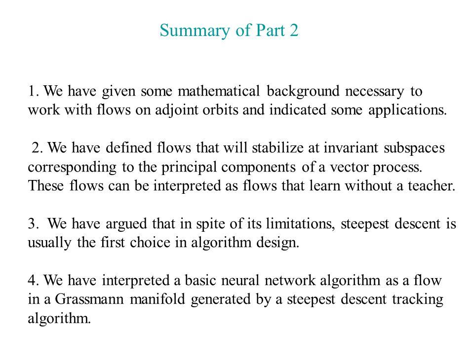 Summary of Part 2 1.