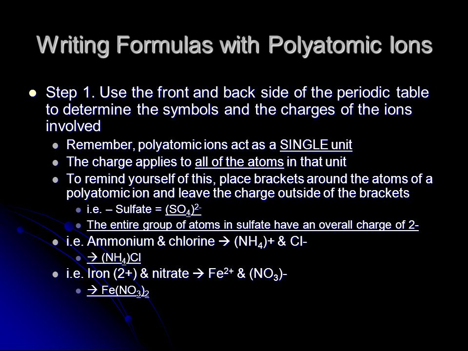 Writing Formulas with Polyatomic Ions Step 1.