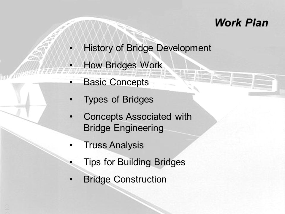 History of Bridge Development How Bridges Work Basic Concepts Types of Bridges Concepts Associated with Bridge Engineering Truss Analysis Tips for Bui