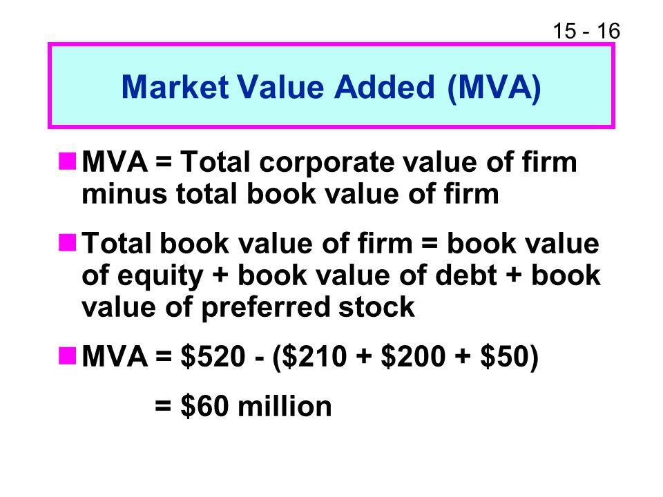 15 - 16 Market Value Added (MVA) MVA = Total corporate value of firm minus total book value of firm Total book value of firm = book value of equity +