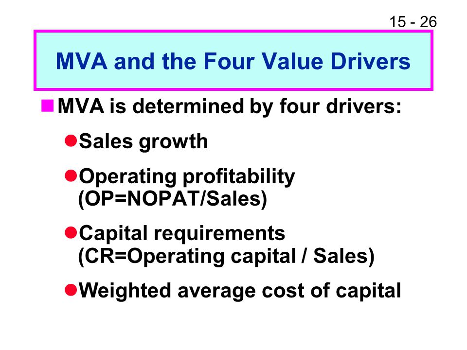 15 - 26 MVA and the Four Value Drivers MVA is determined by four drivers: Sales growth Operating profitability (OP=NOPAT/Sales) Capital requirements (