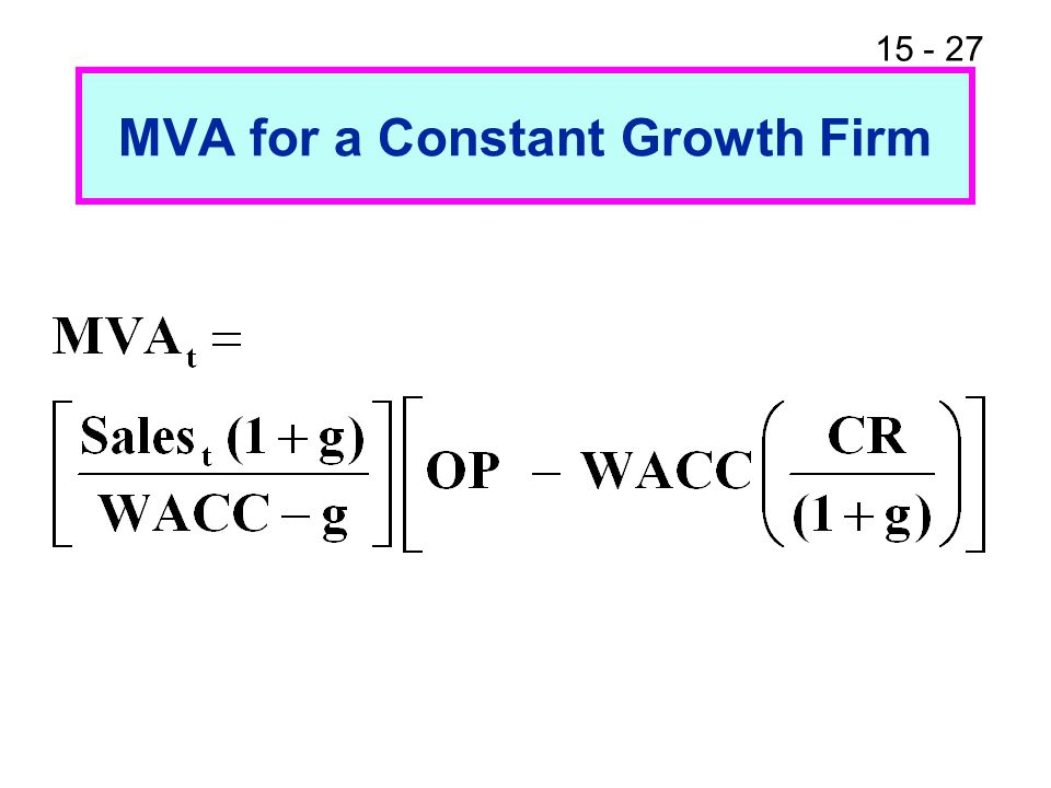 15 - 27 MVA for a Constant Growth Firm