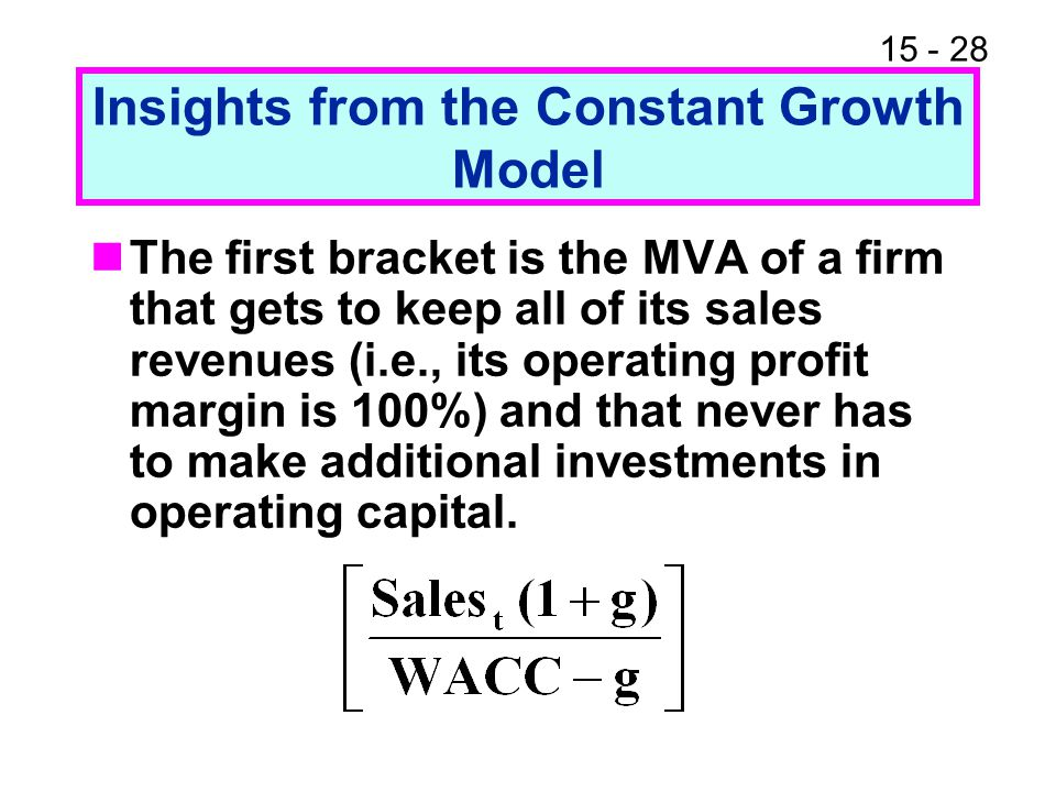 15 - 28 Insights from the Constant Growth Model The first bracket is the MVA of a firm that gets to keep all of its sales revenues (i.e., its operatin